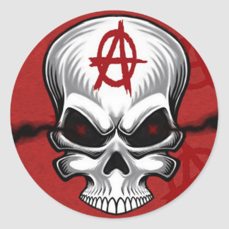 Crimson Skull Anarchy Round Sticker