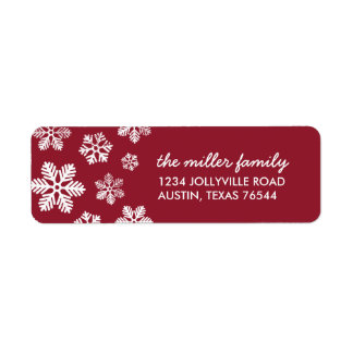 Crimson Snowflakes Personalized Address Labels