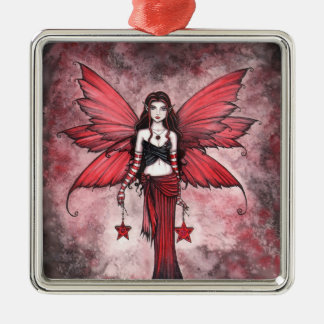 Crimson Star Christmas Fairy Ornament