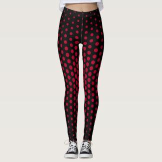 Crimson Techno Dot Pattern Leggings