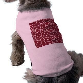 Crimson Whimsical Ikat Floral Petal Doodle Pattern Dog Shirt