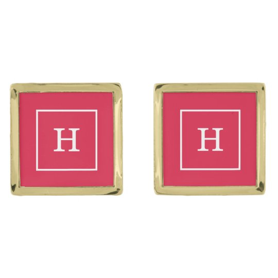 Crimson White Framed Initial Monogram Gold Finish Cuff
