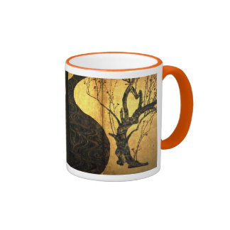 Crimson white plum figure _2 ringer mug