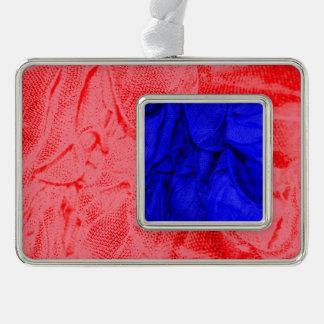 crinkle fabrics,blue silver plated framed ornament