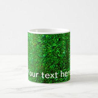 Crinkle green fused glass coffee mug