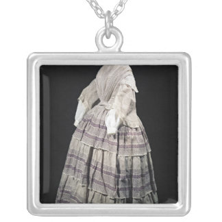Crinoline dress, 1850-60 silver plated necklace