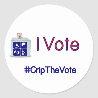 #CripTheVote I VOTE stickers (round) small