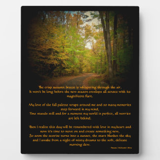 Crisp Autumn Breeze Scenic Poem Easel Photo Display Plaque