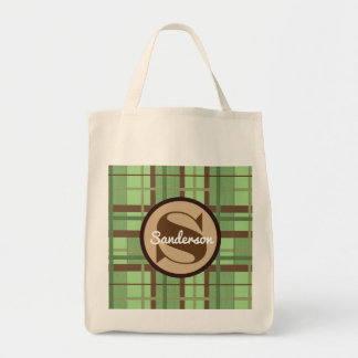 Crisp Brown & Green Contemporary w/Name Grocery Tote Bag