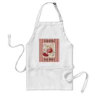 Crisp Clean Red Floral French Country Design Apron