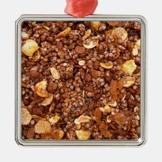 Crisp Muesli Texture Silver-Colored Square Decoration