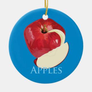 Crisp Red Apple Round Ceramic Decoration