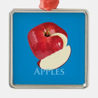 Crisp Red Apple Silver-Colored Square Decoration