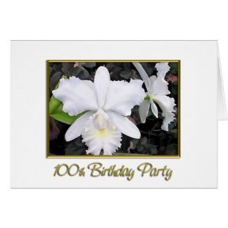 Crisp White Orchids Birthday Party 100 Greeting Card