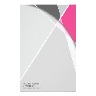Criss Cross * Gray + Pink Business Stationery