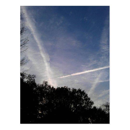 Criss-cross sky postcard
