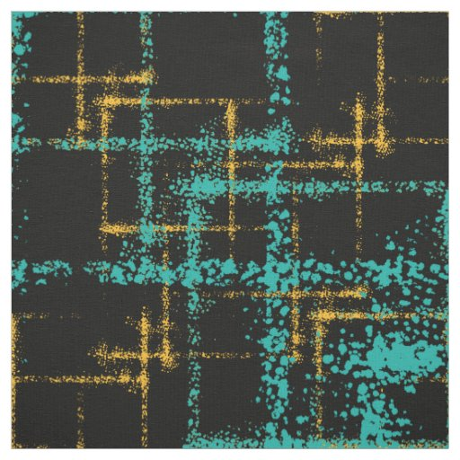 crisscross geometric pattern turquoise gold fabric
