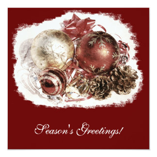Cristmas ornaments - season's greetings corporate 13 cm x 13 cm square invitation card