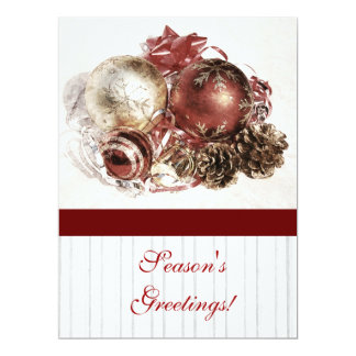 "Cristmas ornaments - season's greetings corporate 6.5"" x 8.75"" invitation card"
