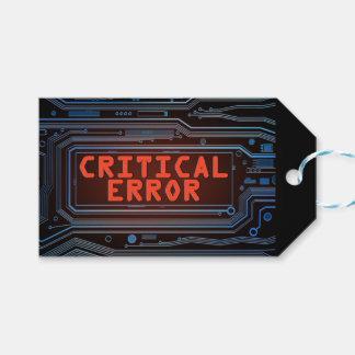 Critical error concept. gift tags