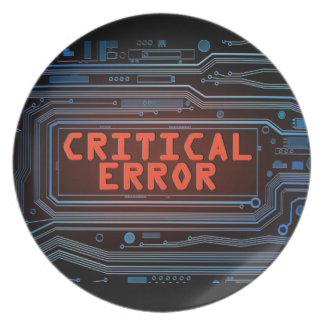 Critical error concept. plate