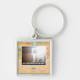 Critical Mass Kitty Silver-Colored Square Key Ring