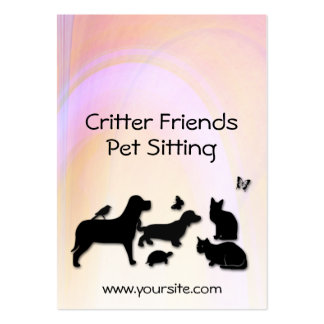 Critter Friends Pet Sitting Large Business Cards (Pack Of 100)