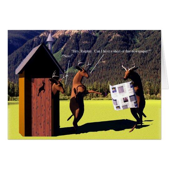 Critters - Deer, Dear John - Outhouse Card