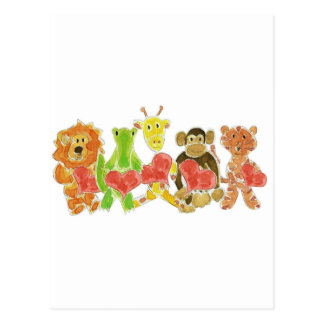 Critters Hearts Postcard
