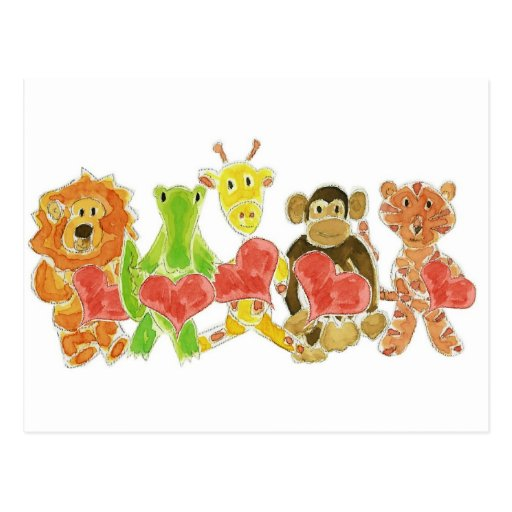 Critters Hearts Postcards