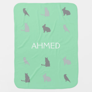 Critters in the Hills with Name in Green Baby Blanket