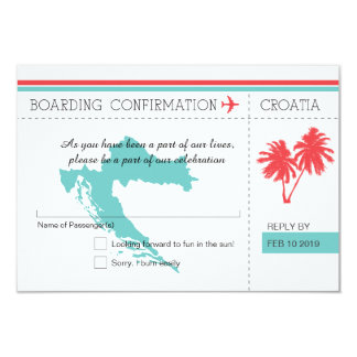 Croatia Boaring Pass RSVP Teal and Coral 9 Cm X 13 Cm Invitation Card