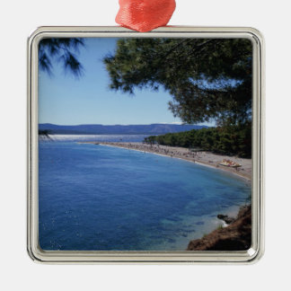 Croatia, Brac Island, Bol, Golden Cape Beach 2 Silver-Colored Square Decoration