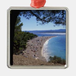 Croatia, Brac Island, Bol, Golden Cape Beach Silver-Colored Square Decoration