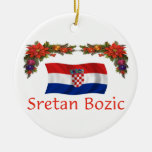 Croatia Christmas Double-Sided Ceramic Round Christmas Ornament