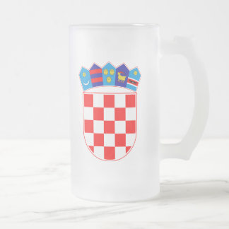 Croatia Coat Of Arms Frosted Glass Beer Mug