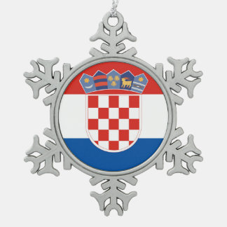 Croatia country flag symbol long snowflake pewter christmas ornament