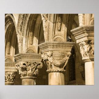 Croatia, Dalmatia, Dubrovnik. Stone arches and Poster