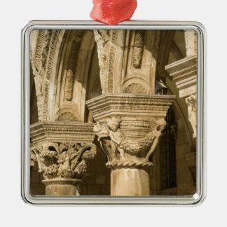 Croatia, Dalmatia, Dubrovnik. Stone arches and Silver-Colored Square Decoration