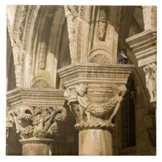 Croatia, Dalmatia, Dubrovnik. Stone arches and Tile