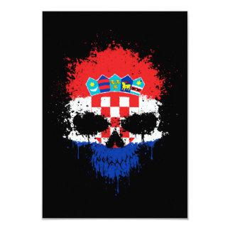 Croatia Dripping Splatter Skull Personalized Invites