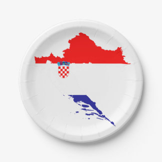 Croatia flag and map paper plate