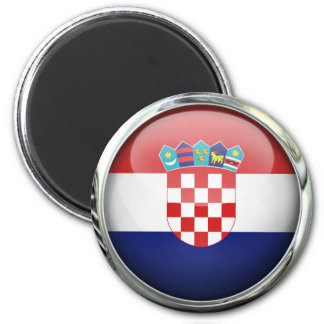 Croatia Flag Glass Ball 6 Cm Round Magnet