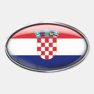 Croatia Flag Glass Oval Oval Sticker