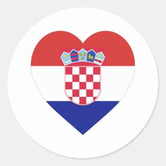 Croatia Flag Heart Classic Round Sticker