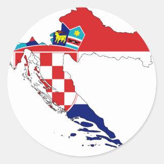 Croatia Flag map HR Hrvatska Classic Round Sticker