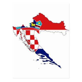 Croatia Flag map HR Hrvatska Postcard