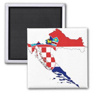 Croatia Flag map HR Hrvatska Square Magnet