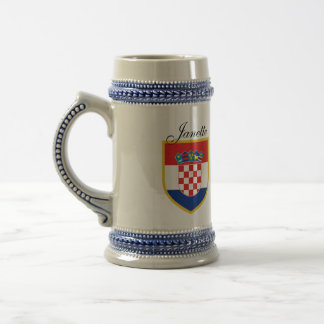 Croatia Flag Personalized Beer Stein