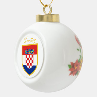 Croatia Flag Personalized Ceramic Ball Christmas Ornament